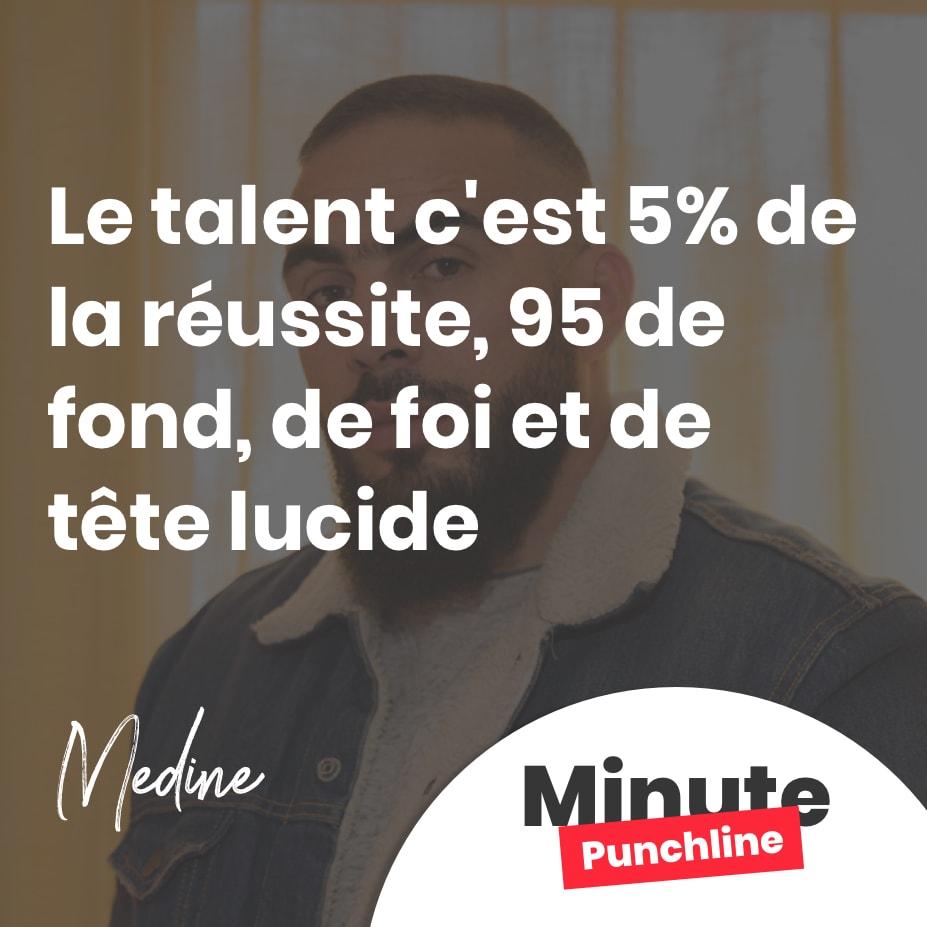 Le talent c'est 5% de la réussite, 95 de fond, de foi et de tête lucide