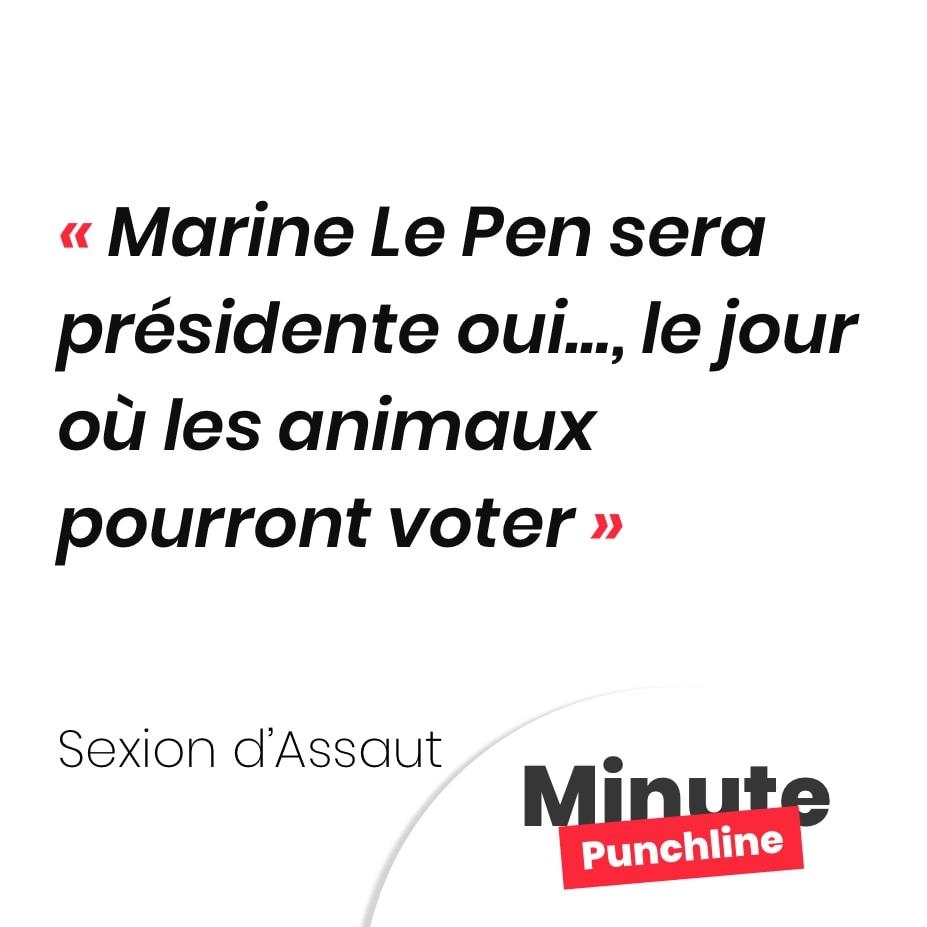 Marine Le Pen sera présidente oui…, le jour où les animaux pourront voter